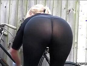 ass see through lycra leggings outdoors