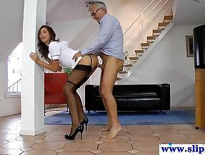 Gorgeous longlegged nurse in stockings gets pussy nailed