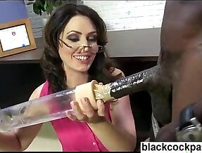 Big black girl with huge monster dick damaging a white sluts cunt peice