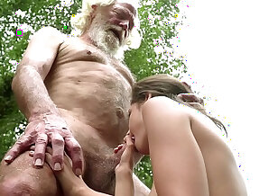70 year old grandpa fucks 18 year old girl play with pleasure and swallows