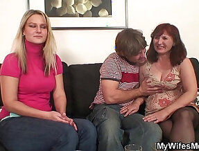 Girlfriends mother in stockings sucks and rides big black cock