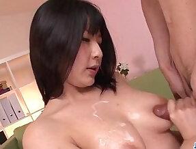 Megumi Haruka busty beauty sucking his cock