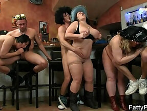 Hot group sex orgy right in the bar