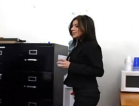 Office sex with party real slut busty secretary in sexy hosiery